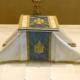 The chalice veil and burse on the altar